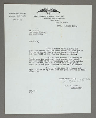 """[Thanking Les Birch for radio communication with """"Southern Cross"""" in flight]"""