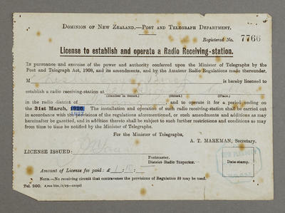License to establish and operate a radio receiving-station [for Les Birch]