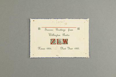 Season's greetings from Wellington radio ZLW