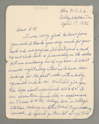 [Letter between Martin Cornell and Leslie Birch]