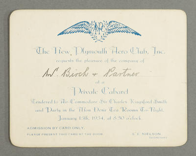 [Invite to a private cabaret held for Charles Kingsford Smith and party]