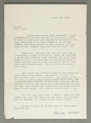 [Letter to Leslie Birch from radio operator signed George - WGHG]