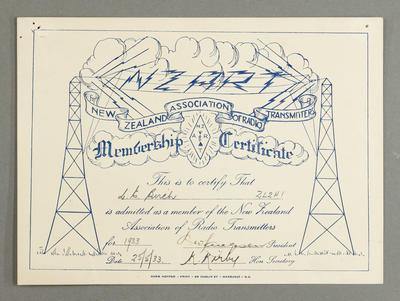 [Membership certificate to Leslie Birch]