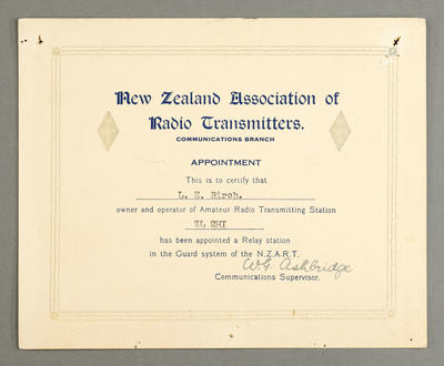[Certificate of appointment to Leslie Birch as a relay station in the guard system of NZART]