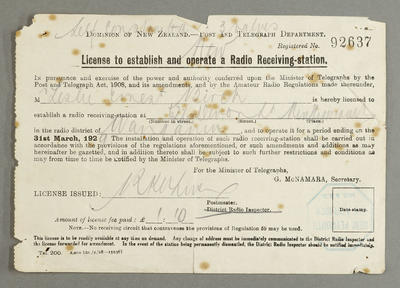 License to establish and operate a radio receiving-station. [for Leslie Birch]