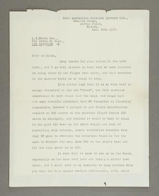 [To Leslie Birch regarding radio contact for forthcoming Southern Cross TransTasman flight]; John Stanley Warburton Stannage; 20 Dec 1932