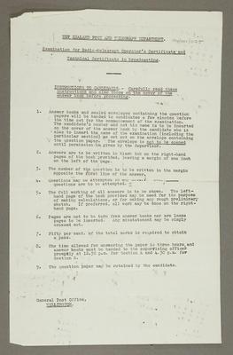 [Radio operator's examinations taken by Leslie Birch]