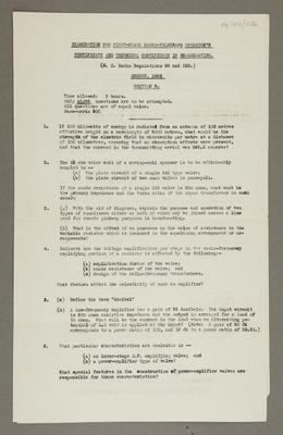 Examination for first-class radio-telegraph operator's certificate and technical certificate in broadcasting [section B]