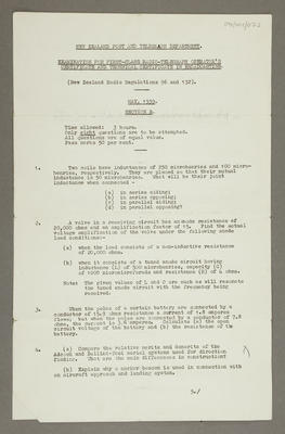 Examination for first-class radio-telegraph operator's certificate and technical in broadcasting [section B]