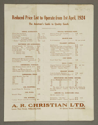 Reduced price list to operate from 1st April, 1924