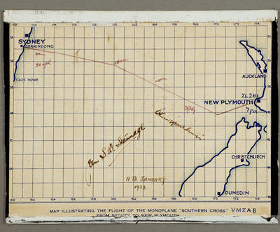"""[Map illustrating the flight of the monoplane """"Southern Cross"""" VMZAB from Sydney to New Plymouth]; 1933"""