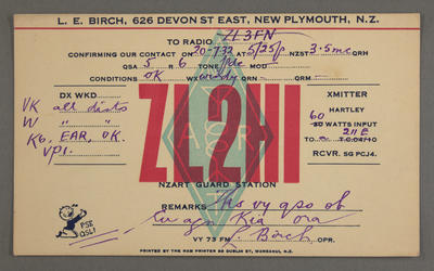 [Ham radio station call sign cards to and from ZL2HI]