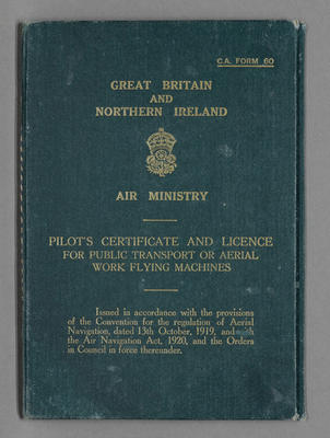 Pilot's certificate and license for public transport or aerial work flying machines [for Oscar Garden]