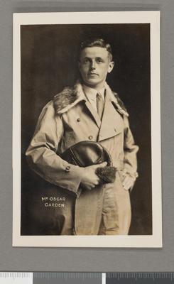 [Postcard portrait of Oscar Garden in pilot's suit]