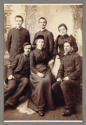 [Copy photograph of Rebecca and Robert Junior Garden with unidentified others in Kirkwall, Orkney]