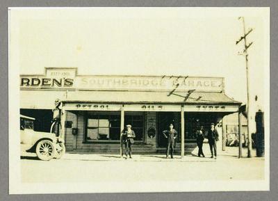 [Copy photograph of Southbridge Garage owned by Oscar Garden]