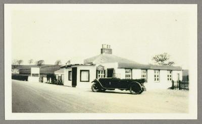 [Copy photograph of Oscar Garden's second-hand Chrysler at John O'Groats]