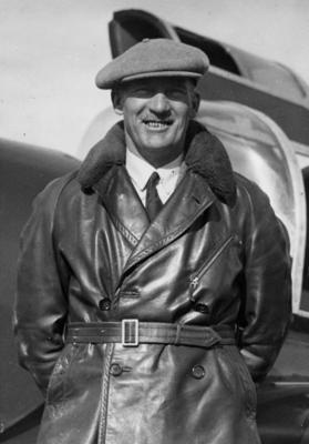 Wellington Aero Club. Gerry Stedman in front of Miles Whitney Straight. 1937.