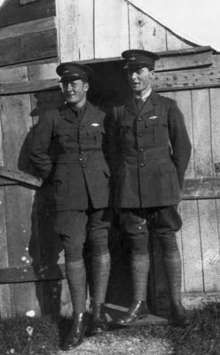 New Zealand Flying School two trainees at  Walsh Brothers flying school at Kohimarama