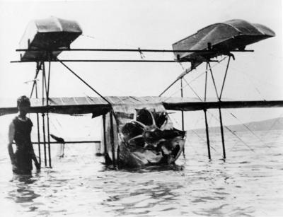 New Zealand Flying School, Caudron flying boat overturned at Kohimarama 31 August 1916
