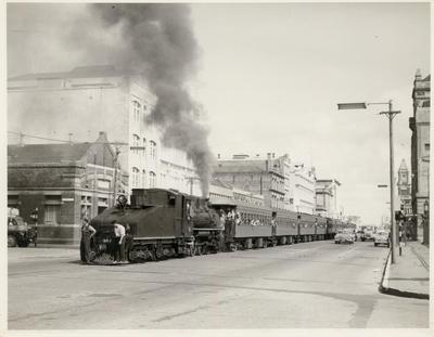 Locomotive C 857 in Quay St, 1963