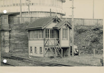 South end signal box, Newmarket station, c 1954