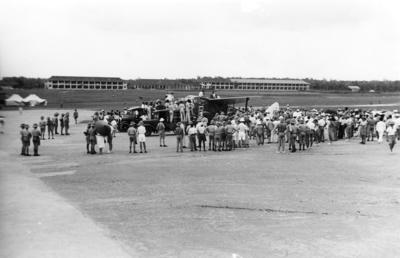 [de Havilland Dragon Rapide at air field in Singapore]