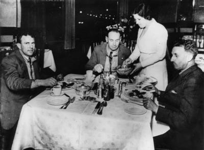 "[de Havilland 89 Rapide ""Tainui"" ZK-ACO crew at dinner in Palmerston North]"