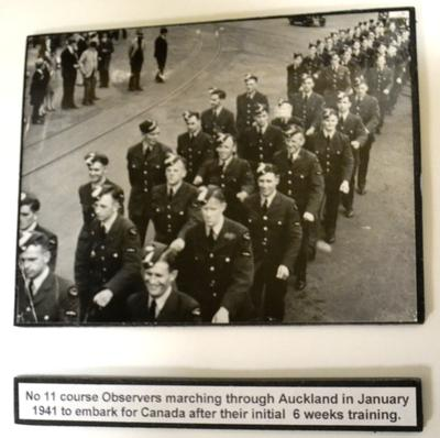 No 11 course observers marching through Auckland in January 1941 to embark for Canada after their initial six weeks training