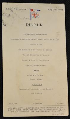 [R.M.S. Rimutaka dinner menu]