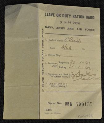Leave or duty ration card [for Chrisp]