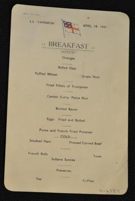 "[S.S. ""Tamaroa"" breakfast menu]"