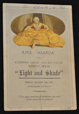 """R.M.S. Akaroa : Combined naval and air force variety revue : """"Light and shade"""""""