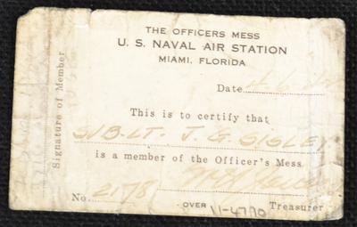 U.S. Naval Air Station officers mess membership card for Sub. Lt. J. G. Sisley