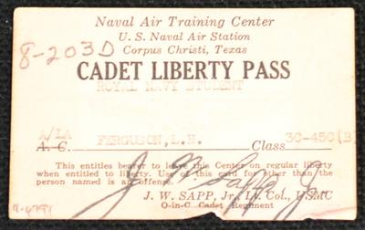 Cadet liberty pass [issued to L. H. Ferguson]