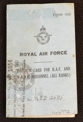 Royal Air Force identity card for R.A.F. and W.A.A.F. personnel (all ranks) [issued to John Gordon Sisley]