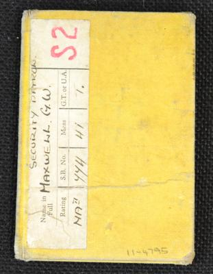 [Station card for the Royal Naval Barracks issued to George Wallett Maxwell]