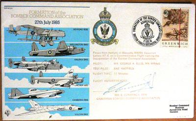 First day cover : formation of the Bomber Command Association, 27th July 1985