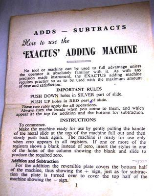 Adding Machine (Exactus Mini-Add) Guarantee