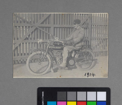 [Frederick Raynor Pinny on Indian motorcycle WN-266]