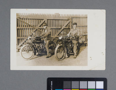 [Frederick Raynor Pinny and unknown male on Indian motorcycles]