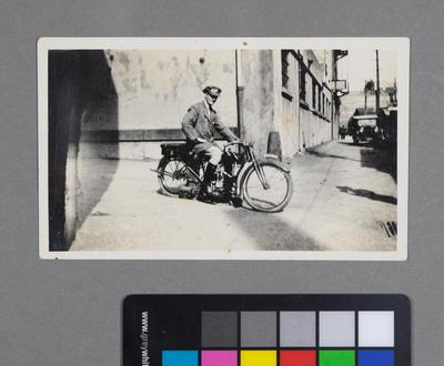 [Frederick Raynor Pinny on Douglas motorcycle WN-4955]