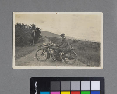 [Frederick Raynor Pinny on Indian motorcycle WN-2972]
