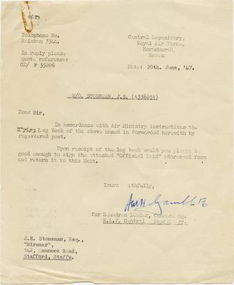[Letter to J. E. Stoneman regarding forwarding of S/L Stoneman's pilot's flying log book]