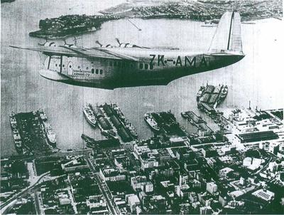 TEAL Short S.30 Class Empire C Class Flying Boat over Auckland