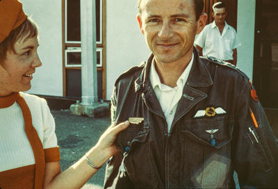 [Cliff Tait and British Colombia Airways hostess Jean Allen at Kamloops Airport]; Unknown; 29 Jun 1969