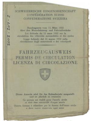Swiss Vehicle License.