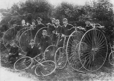 [Arthur Shaef and group of cyclists with penny-farthing bicycles]