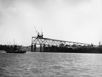 Auckland harbour bridge under construction, 1950s