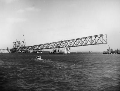 Auckland harbour bridge under construction, 1958
